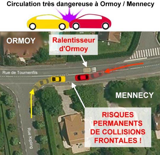 Circulation routière très dangereuse à Orrmoy-Mennecy 91